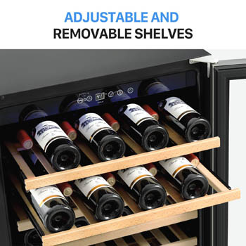 photo showing the top 2 wood shelves of the Colzer 51 bottle wine cooler partialyl pulled out. there are 8-8 bottles of wine on the shelves.