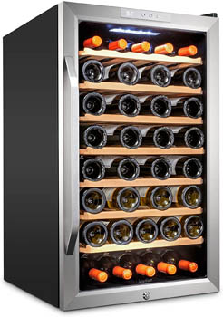 photo of the Ivation 51-bottle wine fridge (model with wood shelves) - front view, the glass door is closed