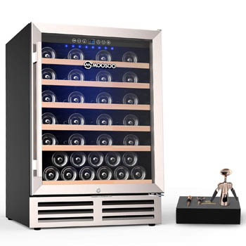front view photo of the MOOSOO 51 bottle wine cooler with glass door closed.