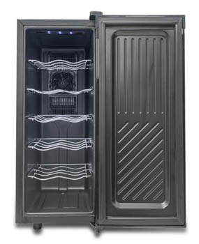 Photo of the Black & Decker 12-bottle wine fridge with the door fully open. We can see the 5 metal shelves with no bottles on them.