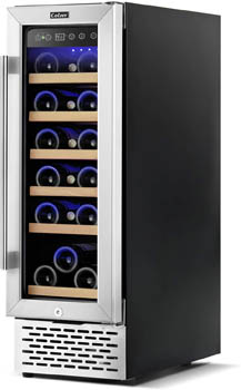 Photo showing the 18-bottle Colzer wine cooler from the front, angled slightly to the left. The see-through glass door is closed.