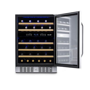 Front view of the NewAir 46-bottle wine cellar with the glass door fully open. The cabinet is fully stocked with bottles.