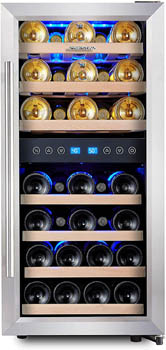 photo of the Phiestina 33-bottle wine cooler taken form the front. the glass door is closed.